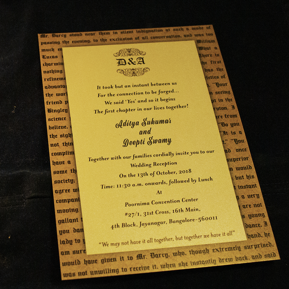 Deepti's Jane Austen Themed Wedding Invite